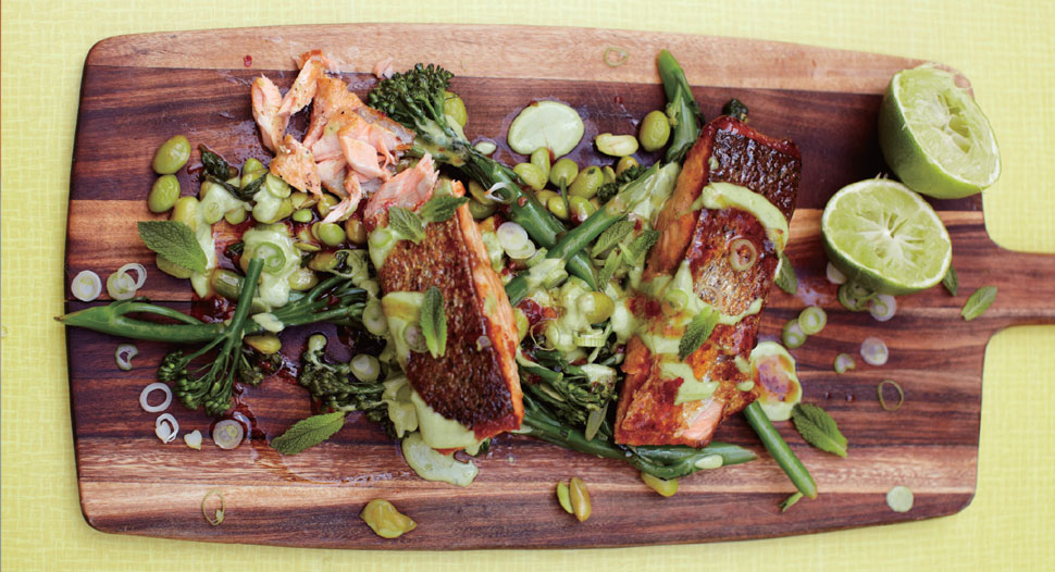Jamie Oliver - Sticky Salmon with Super Greens & Green Goddess Dressing