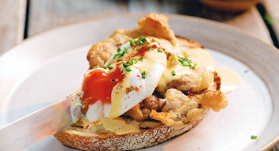 Soft Shell Crab Salted Eggs Benedict