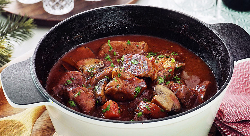 Pork Shoulder & Mushrooms Red Wine Stew