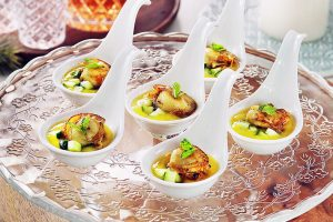 Scallops with Mango Puree Canape