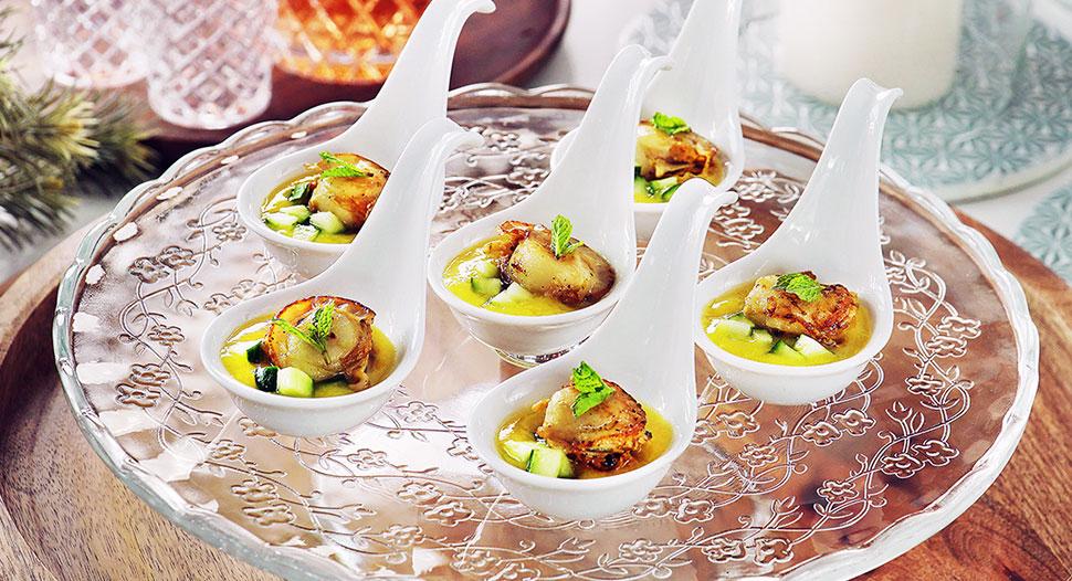 Scallops with Mango Puree Canape