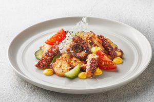 Octopus Carpaccio with Kimchi Cream