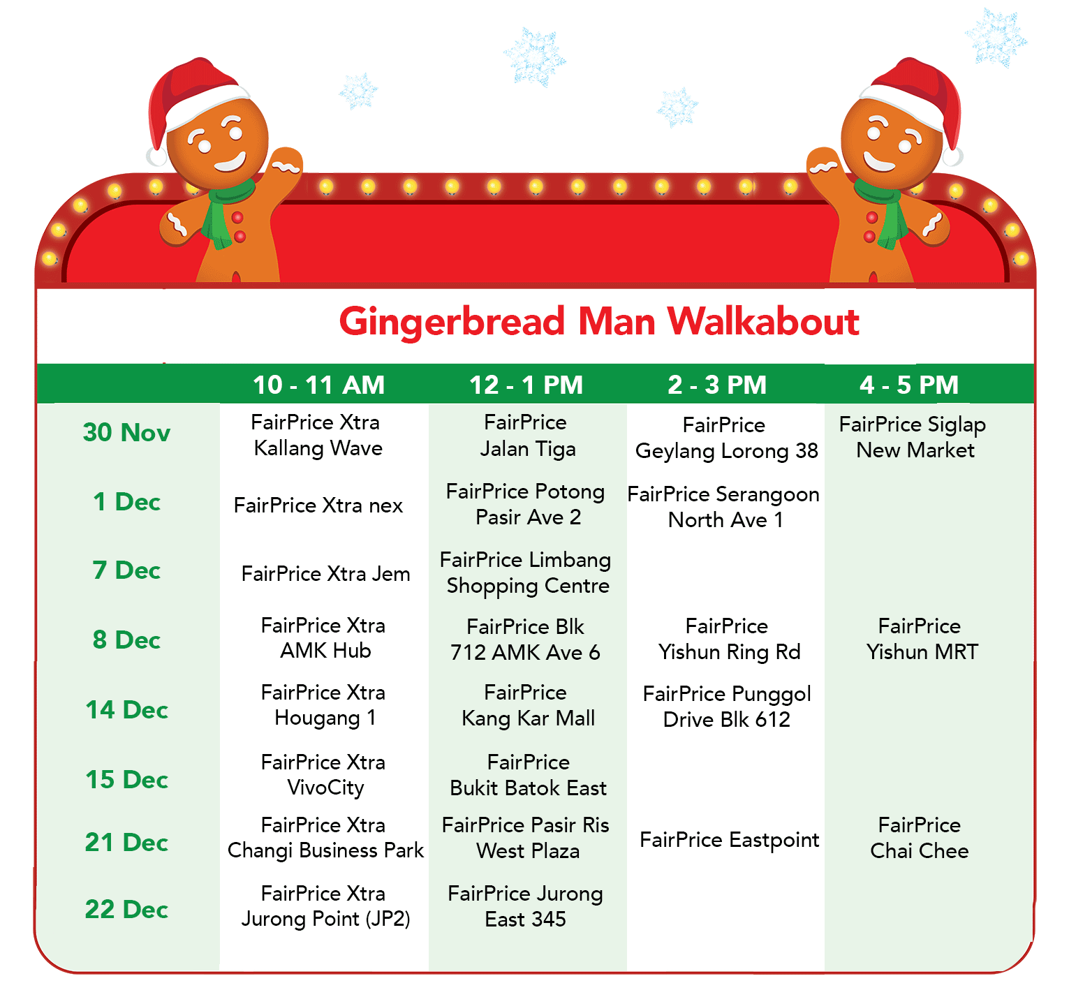 FairPrice Christmas - Gingerbread Man Walkabout