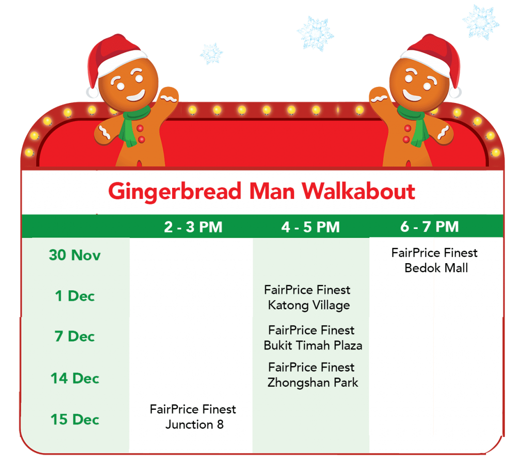 FairPrice Finest Christmas - Gingerbread Man Walkabout