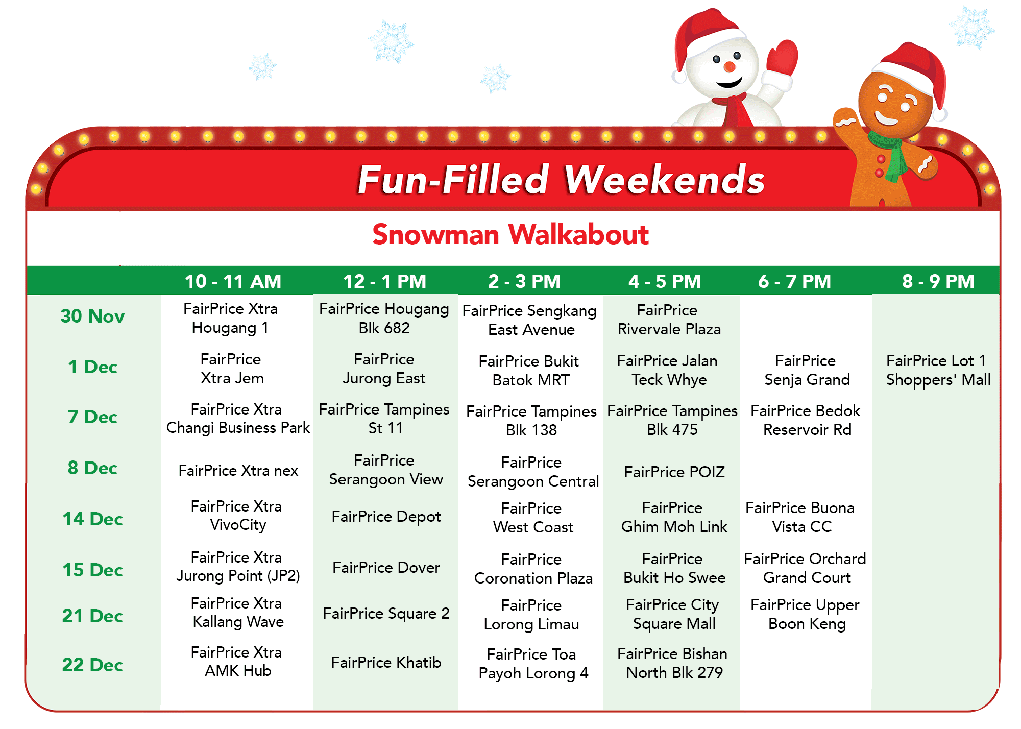 FairPrice Christmas - Snowman Walkabout