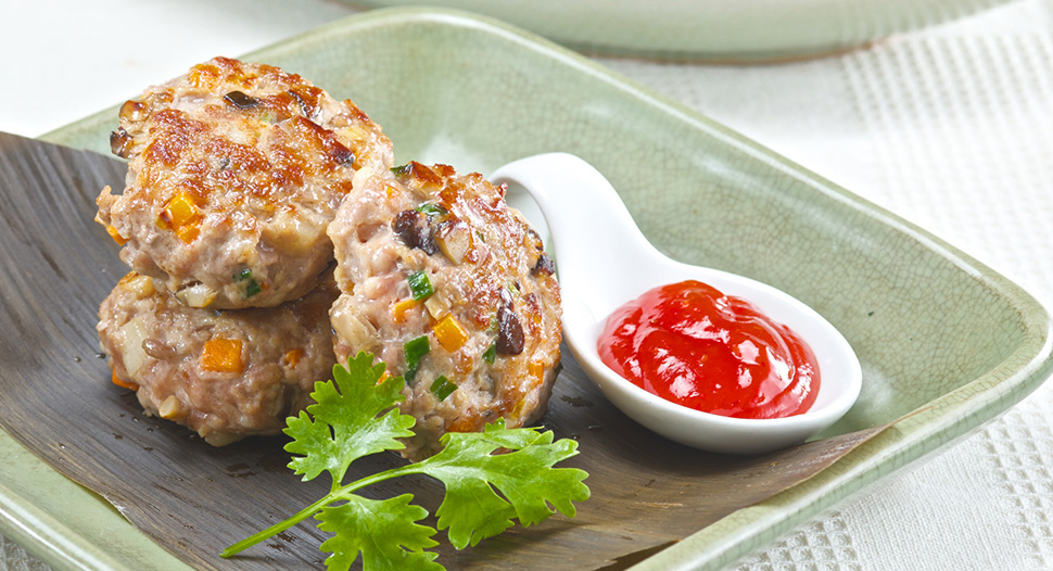 Pan-fried Minced Meat with Water Chestnut Patties
