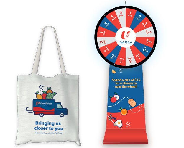 Get a limited edition tote bag with a min. spend of $20! Spin & Win with easy wins.xclusively with FairPrice on Wheels purchases, while stocks last. Spin & Win!