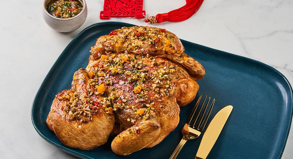 Crispy Chicken with Auspicious Mandarin Orange & Ginger Scallion Sauce