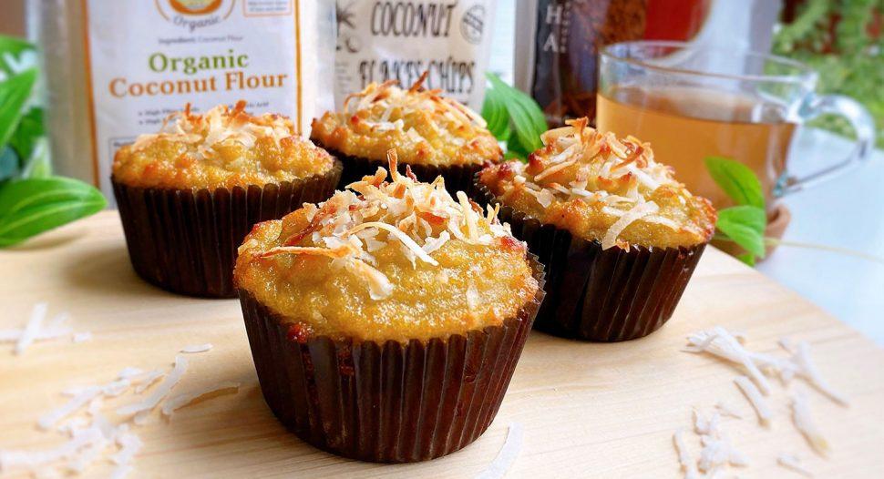 Keto Friendly Coconut Hojicha Muffin