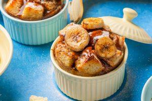 banana bread pudding in ramekin