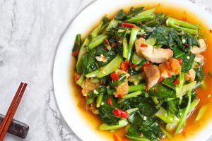 Thai favourite recipe - Stir Fry Kailan with Crispy Pork