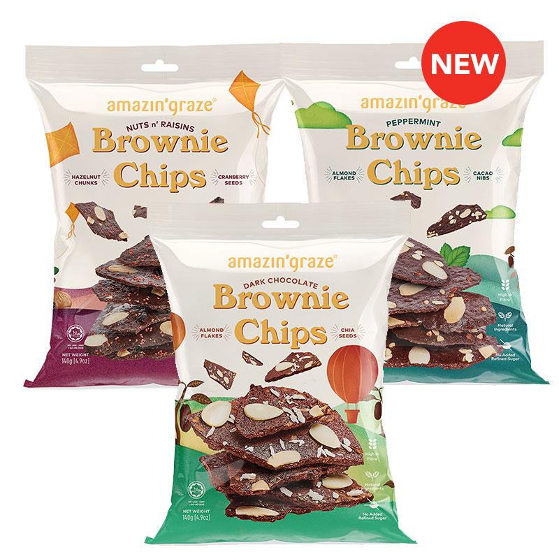New products at FairPrice Finest - Amazin Graze Nuts & Raisins Brownie Chips / Peppermint Brownie Chips / Dark Chocolate Brownie Chips 140g