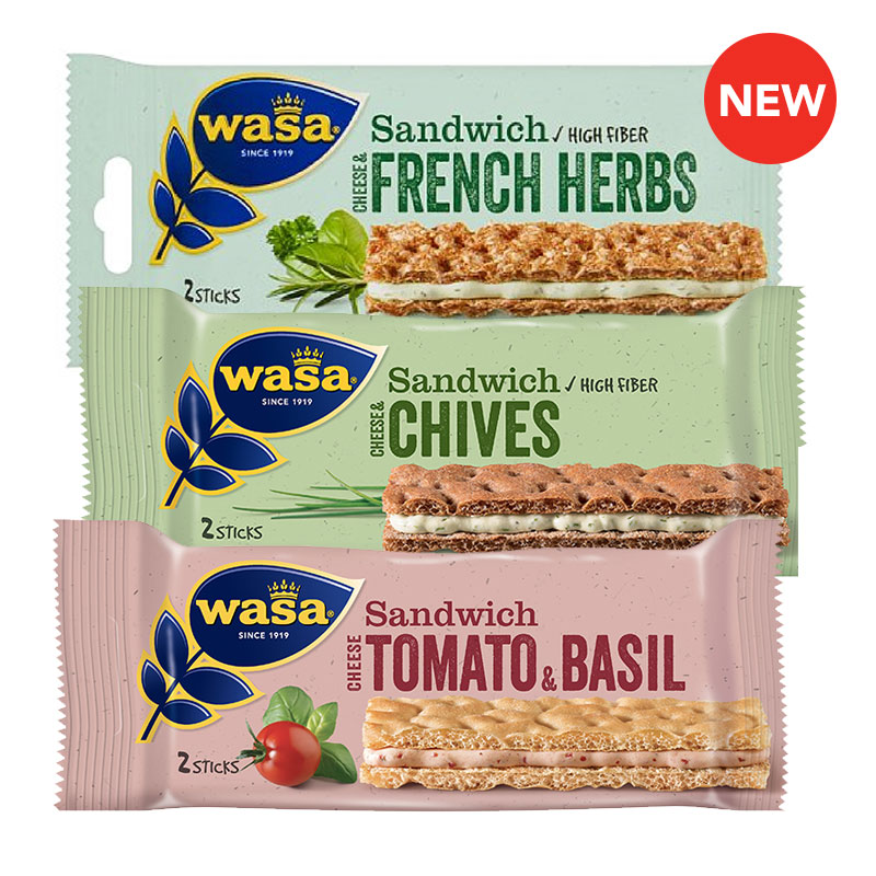 New products at FairPrice Finest - Wasa Sandwich Cheese & Chives / Cheese Tomato & Basil / Cheese & French Herb