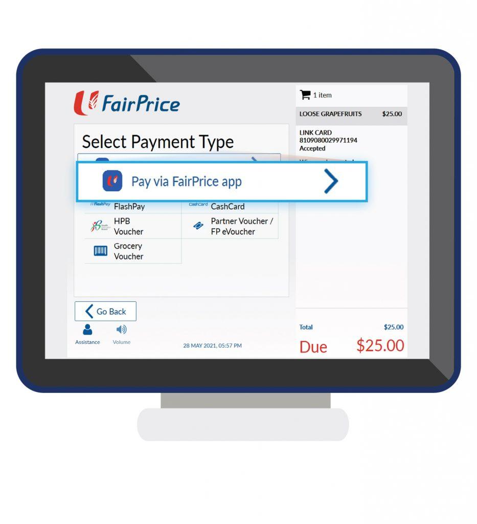 Pay via the FairPrice app at the checkout kiosk step 3