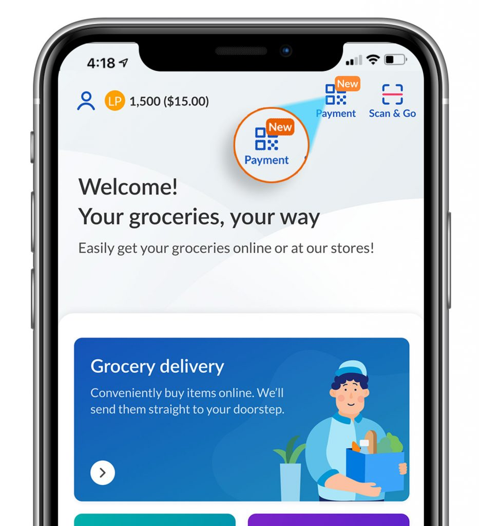 Payment icon on FairPrice app