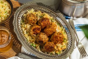 German meatballs that are browned to perfection and smothered in a creamy gravy sauce